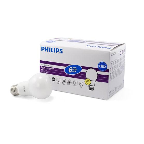 Philips A19 LED Light Bulb - Soft White - 8.5w/60w - 6 pack