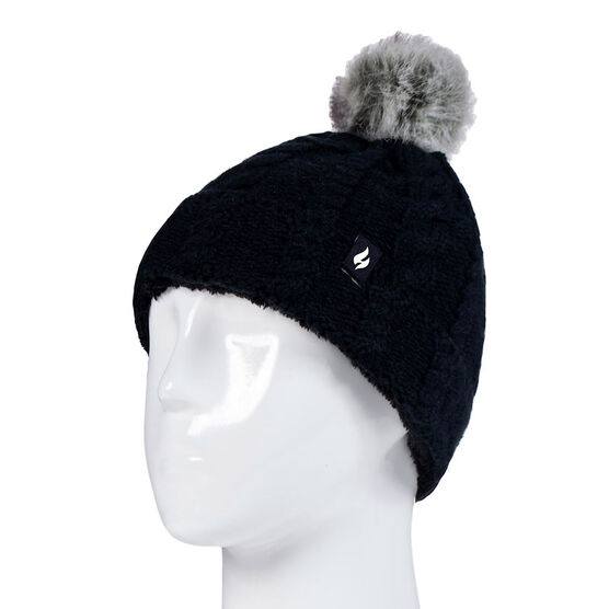 Heat Holders Girls Cable Roll Up Hat with Pom Pom - Black