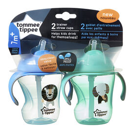 Tommee Tippee Trainer Straw Cup - 230ml - 2 pack - Assorted