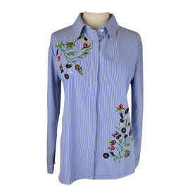 Lava Embroidered Long-sleeved Blouse - Chambray