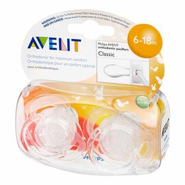 Avent Silicone Orthodontic Pacifier - 6-18m - Assorted Colours