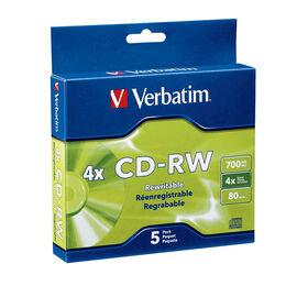 Verbatim CD-RW 2X -4X branded 5 pack Slim Case - 95171