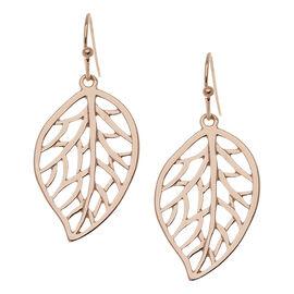 Danori Gold Open Leaf Drop Earrings - Rose Gold