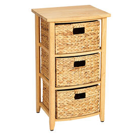London Drugs Rubberwood Water Hyacinth Drawers - Natural - 3 Drawer