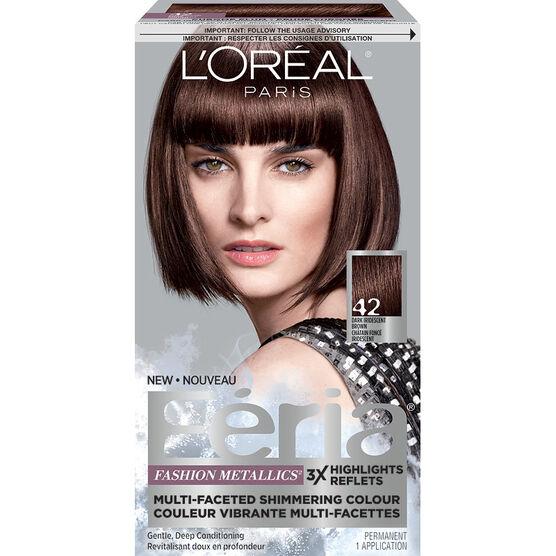 L'Oreal Feria Fashion Metallics Permanent Hair Colour - 42 Dark Iridescent Brown