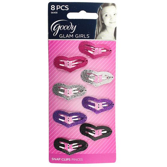 Goody Glam Girls Glitter Heart Snap Clips - 8's