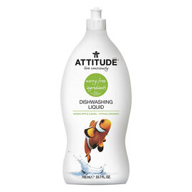 Attitude Dishwashing Liquid - Green Apple & Basil - 700 ml