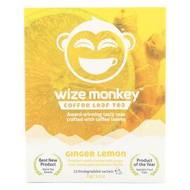 Wize Monkey Coffee Leaf Tea - Ginger Lemon - 15 Pouches
