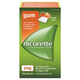 Nicorette Nicotine Gum Stop Smoking Aid - Fresh Fruit - 2mg - 105's