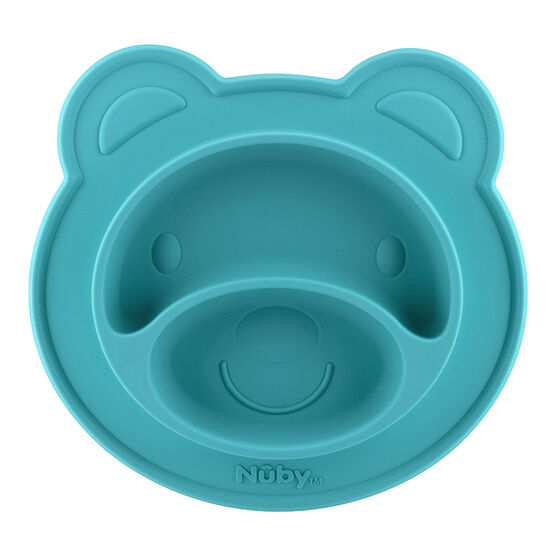 Nuby Sure Grip Silicone Section Bear Plate - Aqua - 537076AQ