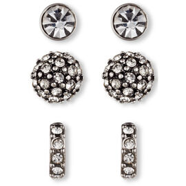 Lonna & Lilly Trio Plated Stud Earrings - Crystal
