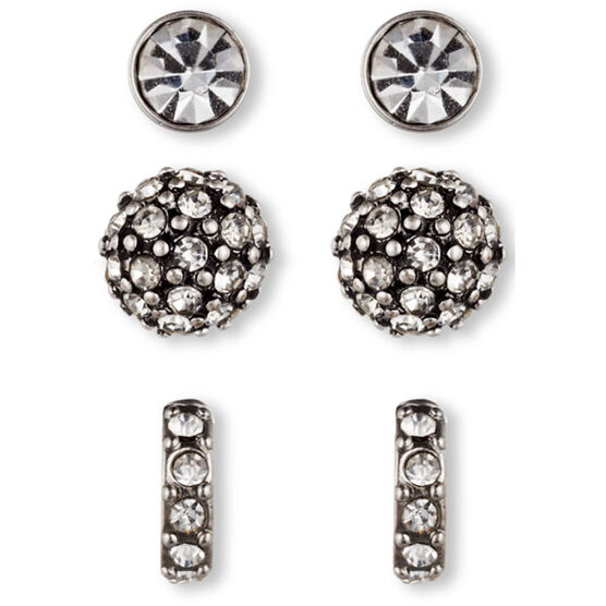 Lonna Lilly PE Trio Stud Earrings - Crystal