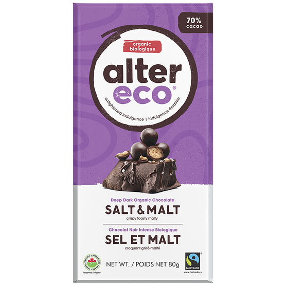 Alter Eco Dark Organic Chocolate Bar - 70% Cacao - Salt & Malt - 80g