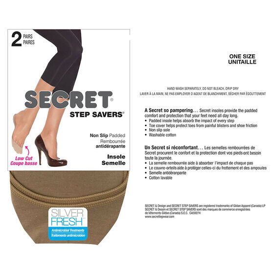 Secret Non-Slip Padded Insole - Nude - 2 pair