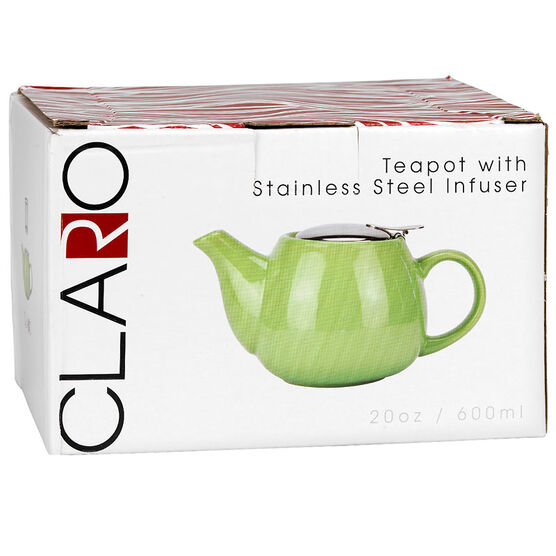 Claro Ceramic Teapot With Stainless Steel Diffuser - Green - 600ml