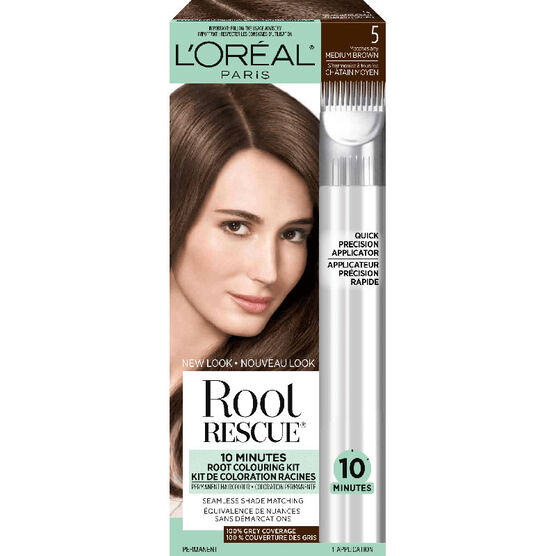 L'Oreal Root Rescue 10 Minutes Root Coloring Kit - 5 Medium Brown