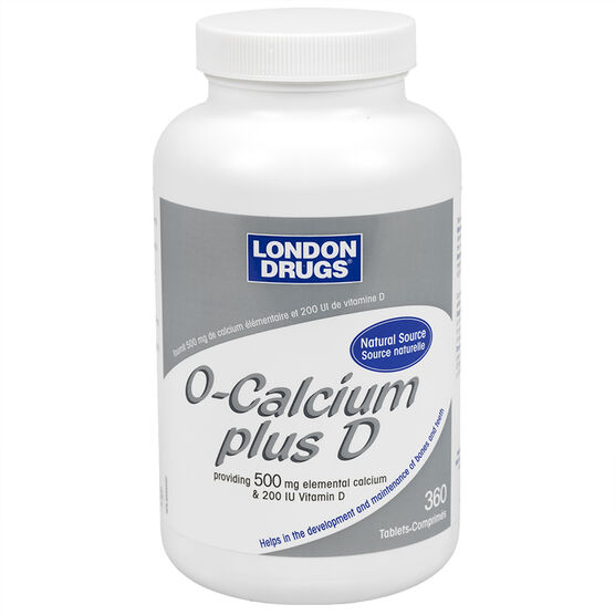 London Drugs O-Calcium plus D - 500mg calcium/200iu D - 360's