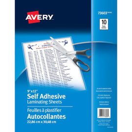 Avery Self Adhesive Laminating Sheets - 10 Pack - 9x12 - 75293