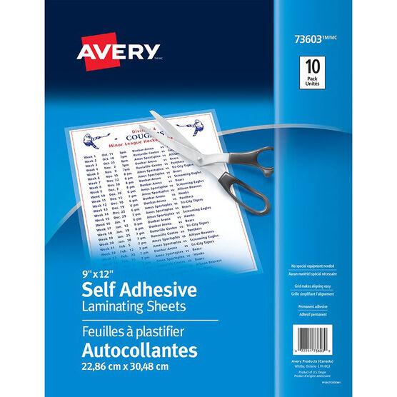 Avery Self Adhesive Laminating Sheets - 10 Pack - 9x12 - 75293
