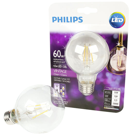 Philips G25 LED Filament Bulb - Clear - 4.5w/60w