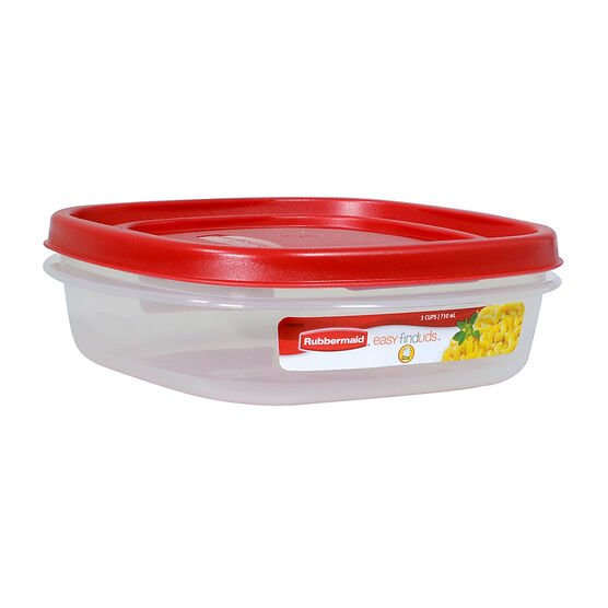 Rubbermaid Easy Find Lid Square Food Storage - Chili Red - 710ml