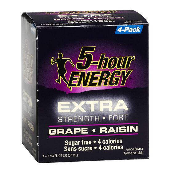 5-Hour Energy Drink - Grape - Extra Strength - 4 x 57 ml