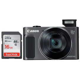 Canon Powershot SX620 HS with SanDisk Ultra 16GB SDHC Memory Card - Black - PKG #13761