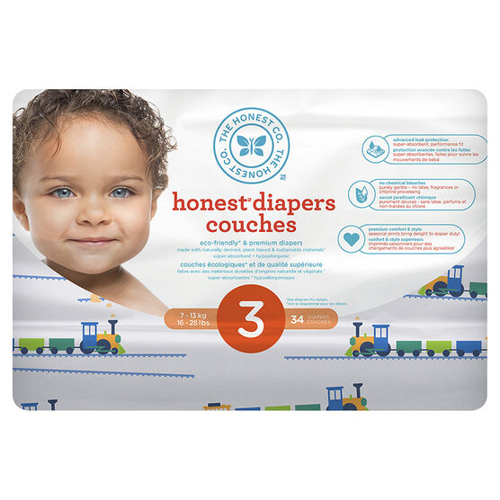 The Honest Company Honest Diapers - Size 3 - 34s - Train Print
