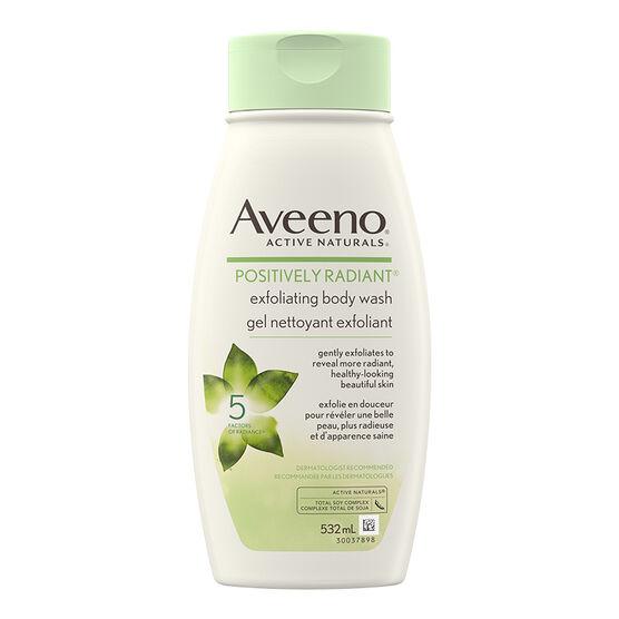 Aveeno Positively Radiant Exfoliating Body Wash - 532ml