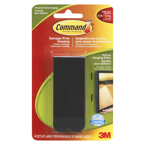 Command™ Large Picture Hanging Strips - Black - 4 sets