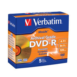 Verbatim UltraLife Archival Grade Gold DVD-R 4.7GB 8X - 5 pack Jewel Case - 96320