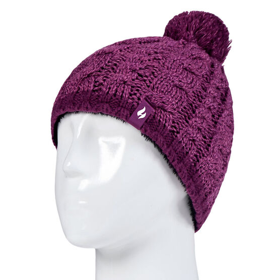 Heat Holders Girls Cable Hat with Pom Pom - Purple/Pink