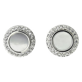 Puccini Cubic Zirconia Halo Pave Stud Earrings - Rhodium