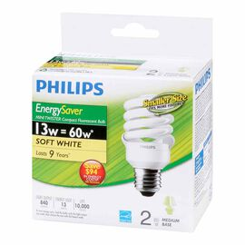 Philips Minitwister 23w CFL Bulb - Soft White - 2 pack