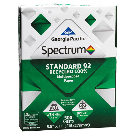 Georgia-Pacific Spectrum Recycled Printer Paper - 20 lbs - 92 Bright - 10 pack