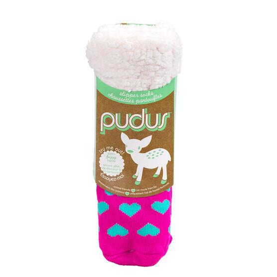 Pudus Brand Slipper Socks - Hearts Pink