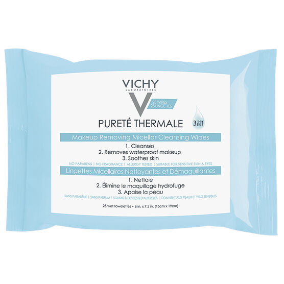 Vichy Purete Thermale Makeup Removing Micellar Cleansing Wipes - 25's