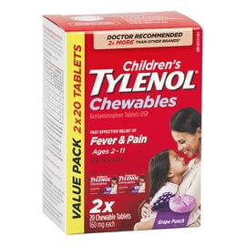 Tylenol* Children's Chewable Tablets Grape Punch - 160mg - 2 x 20's