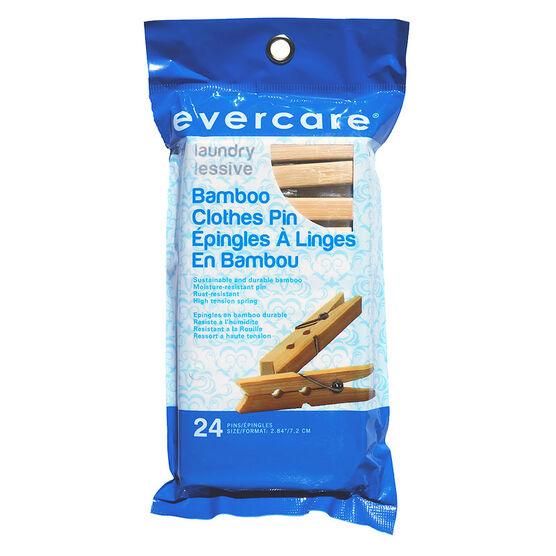 Evercare Bamboo Clothespins - 24's