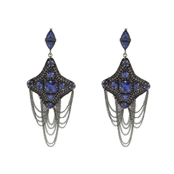 Steve Madden Casted Tassel Earrings - Blue