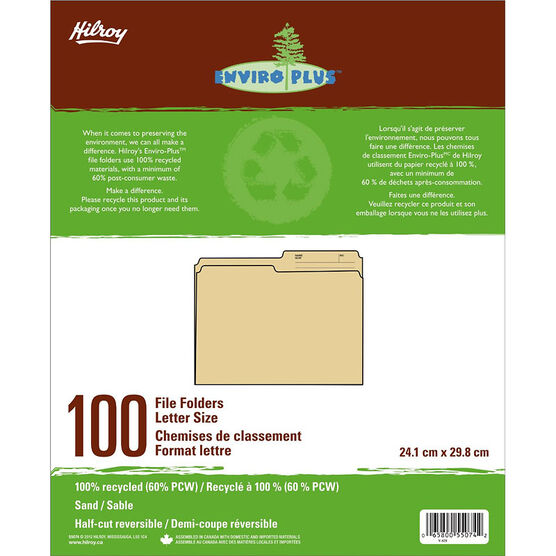Hilroy Enviro-Plus Recycled File Folders - Letter Size - 100 Pack