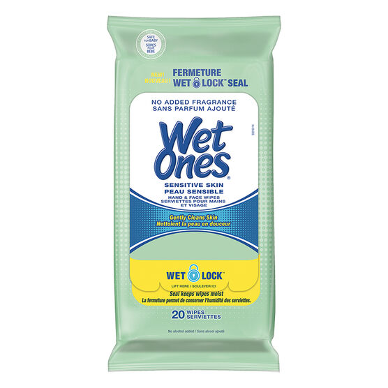 Wet Ones Hand & Face Wipes - Sensitive Skin - 20's