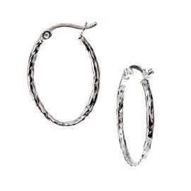 Charisma Stainless Steel Texture Hoop Earrings