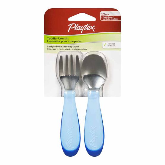 Playtex Fork & Spoon - 12 months+ - 2 pack - Assorted