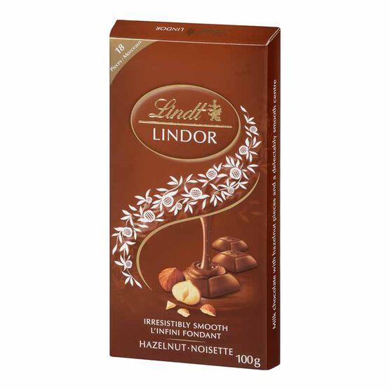 Lindt Lindor Bar - Milk Chocolate Hazelnut - 100g