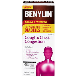 Benylin Cough & Chest Congestion Syrup for People with Diabetes - 100ml