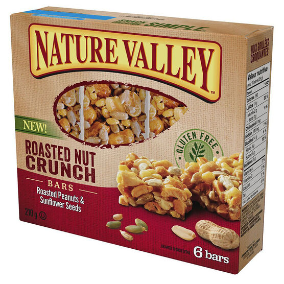 Nature Valley Roasted Nut Crunch Bars - Roasted Peanuts & Sunflower Seeds - 210g