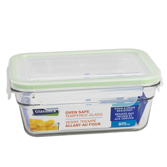 Glasslock Rectangle Oven Safe Tempered Glass Container - 970ml