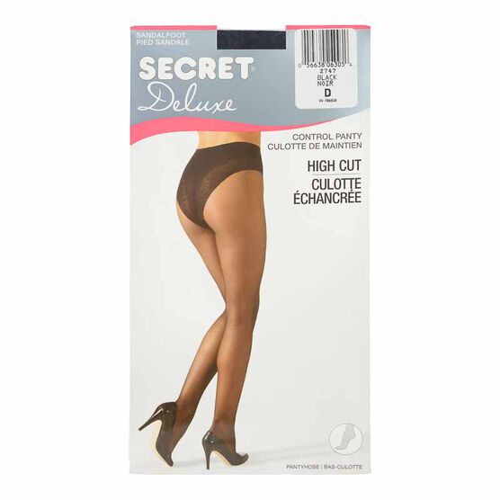 Secret Deluxe High Cut Lace Control Top Panty Hose - D - Black