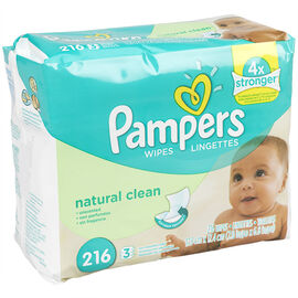 Pampers Wipes Refills - Natural Aloe Unscented - 216's